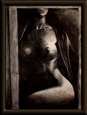 Art: Nude in Doorway  by Artist David Mott