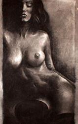 Art: Female Nude in Shadows by Artist David Mott