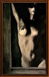 Art: Masked Nude in Doorway by Artist David Mott