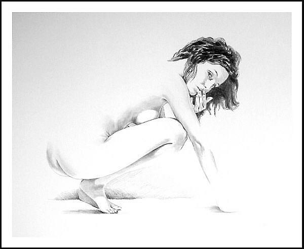 Art: Kneeling Figure,  August 7-03 by Artist David Mott