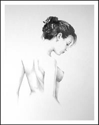 Art: Female nude with black hair- October-03 by Artist David Mott
