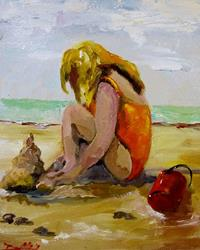Art: Childs Play at the Beach-sold by Artist Delilah Smith
