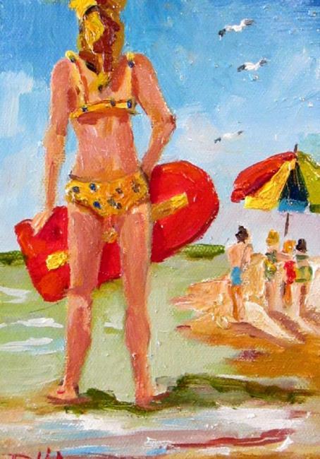 Art: Beach surfer by Artist Delilah Smith