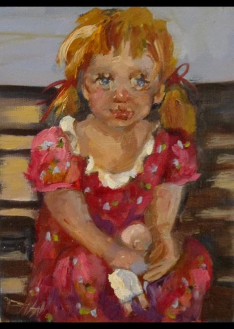 Art: Little Girl and Doll by Artist Delilah Smith