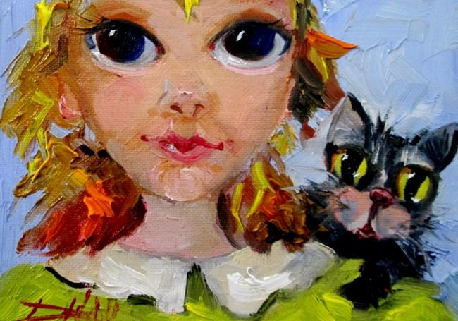 Art: Big Eyed Girls and Cat-sold by Artist Delilah Smith