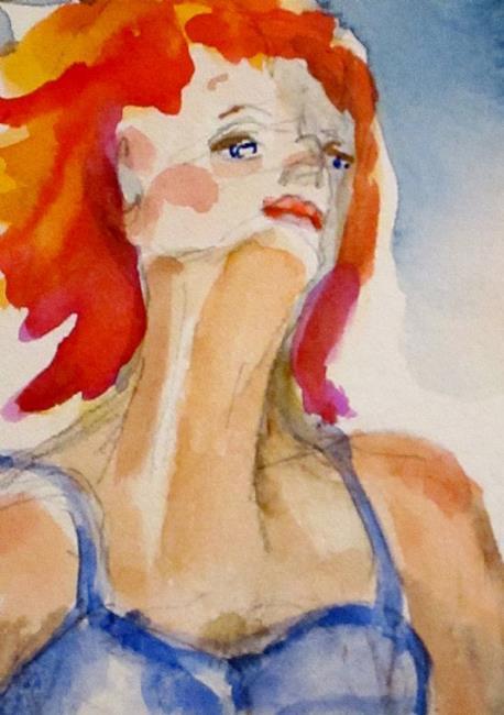 Art: Red Hair Girl by Artist Delilah Smith