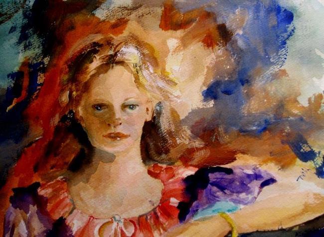 Art: Girl in Purple by Artist Delilah Smith