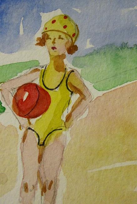 Art: Girl with Beach Ball by Artist Delilah Smith