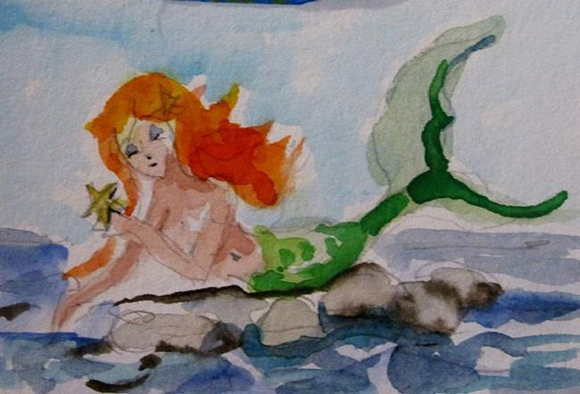 Art: Mermaid and Starfish by Artist Delilah Smith