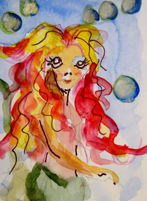 Art: Mermaid with Pink Hair-sold by Artist Delilah Smith