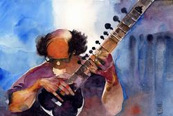 Art: The sitar player by Artist Alessandro Andreuccetti