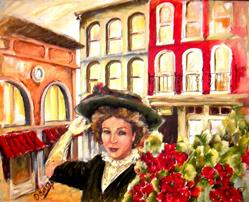 Art: Girl with Red Geraniums - SOLD by Artist Diane Millsap