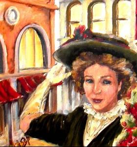Detail Image for art Girl with Red Geraniums - SOLD