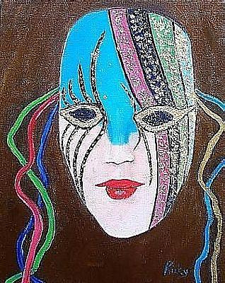 Art: Gold Encrusted Mardi Gras Mask by Artist Ulrike 'Ricky' Martin