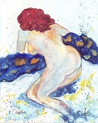 Art: Red Headed Nude with The Blues by Artist Ulrike 'Ricky' Martin