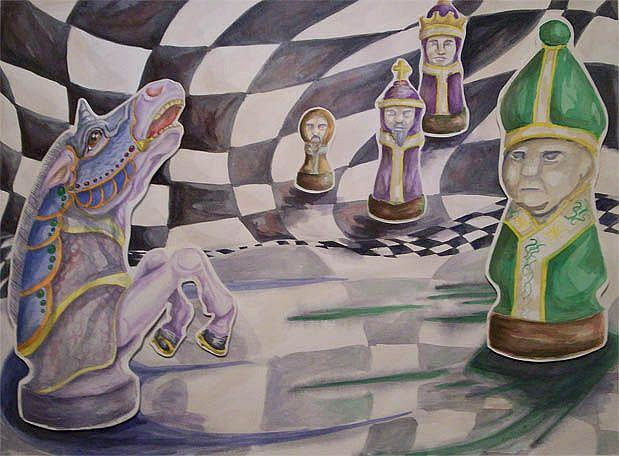 Art: Electrodynamic Chess Match by Artist Kim Loberg