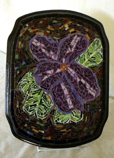 Art: Varigated African Violet (sold) by Artist Dorothy Edwards