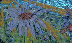 Art: Purple Cone Flower & Butterfly (sold) by Artist Dorothy Edwards