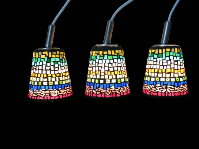 Art: Hanging Cone Lamps by Artist Dorothy Edwards