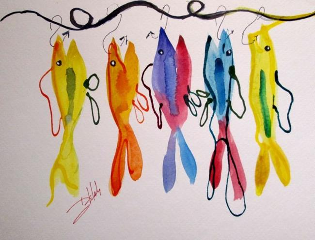 Art: Fish on a Hook No. 4 by Artist Delilah Smith
