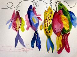 Art: Pink Fish on a Hook by Artist Delilah Smith