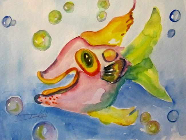 Art: Pink Fish and Bubbles by Artist Delilah Smith