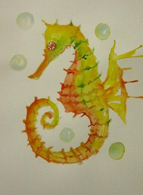 Art: Seahorse and Bubbles by Artist Delilah Smith