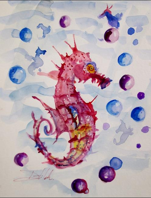 Art: Pink Seahorse with Bubbles by Artist Delilah Smith