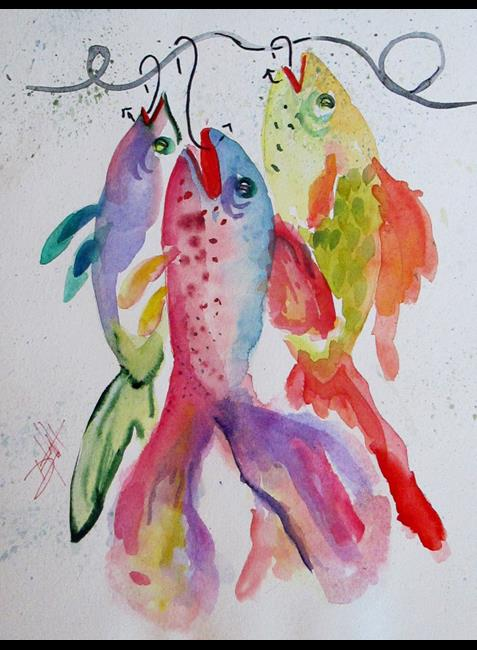 Art: Fish on A Hook No. 6 by Artist Delilah Smith