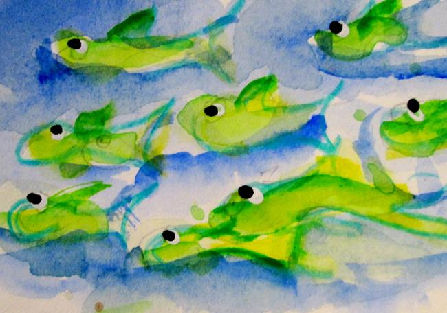 Art: Lots of Green Fish by Artist Delilah Smith