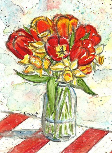 Art: April Flowers by Artist Melinda Dalke