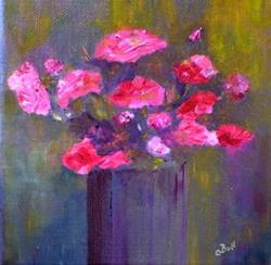 Art: Pinks in a Vase by Artist Claire Bull