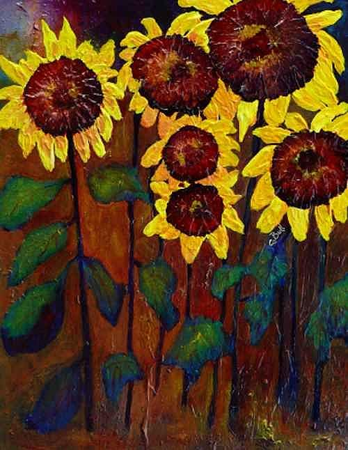Art: Six Sunflowers by Artist Claire Bull