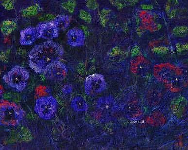Art: Red and Purple Pansies by Artist Claire Bull