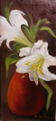 Art: Easter Lilies and Red Vase by Artist Barbara Haviland