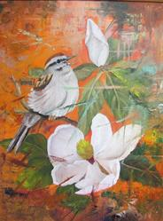 Art: Fractured Magnolia and Bird by Artist Barbara Haviland