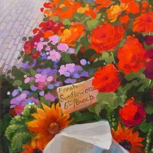 Detail Image for art Seattle Pike Place Market: Mixed Bouquets ~ Sold