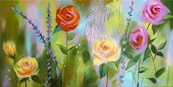 Art: Abstract Roses and Lavender by Artist Patricia  Lee Christensen