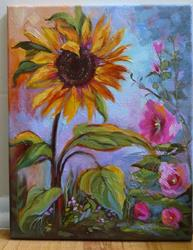 Art: Sunflower Among Hollys by Artist Patricia  Lee Christensen