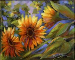 Art: Sunlit Sunflowers - Sold by Artist Patricia  Lee Christensen
