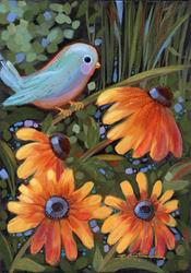 Art: Bluebird Among Susans by Artist Patricia  Lee Christensen