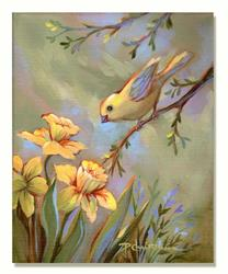 Art: Yellow Bird & Daffodils by Artist Patricia  Lee Christensen