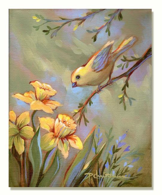 Art: Yellow Bird & Daffodils by Artist Patricia  Lee Christensen