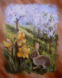 Art: Daffodil Meadow, Orchard & Rabbit by Artist Patricia  Lee Christensen