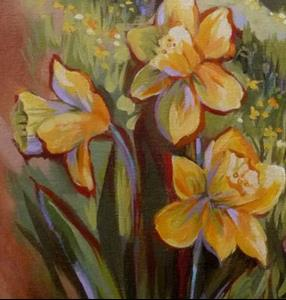 Detail Image for art Daffodil Meadow, Orchard & Rabbit