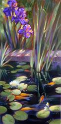 Art: Lily Pond, Irises and Goldfish by Artist Patricia  Lee Christensen