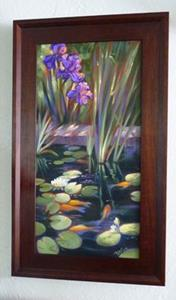 Detail Image for art Lily Pond, Irises and Goldfish