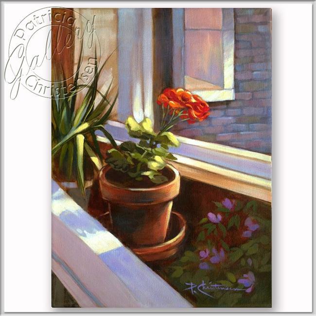 Art: Sunbathing Red Potted Geranium by Artist Patricia  Lee Christensen