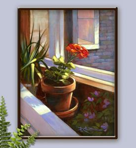 Detail Image for art Sunbathing Red Potted Geranium