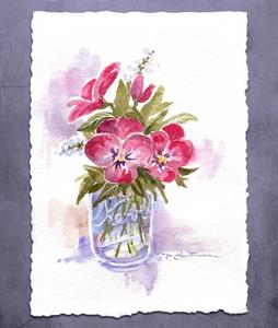 Detail Image for art Pansies at Home in a Pint Canning Jar